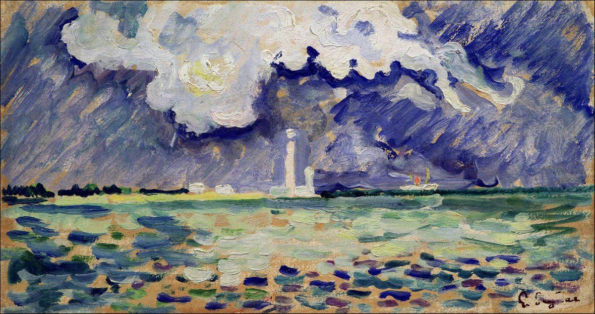 Tableau de Paul Signac, le phare de Gatteville, huile sur toile
