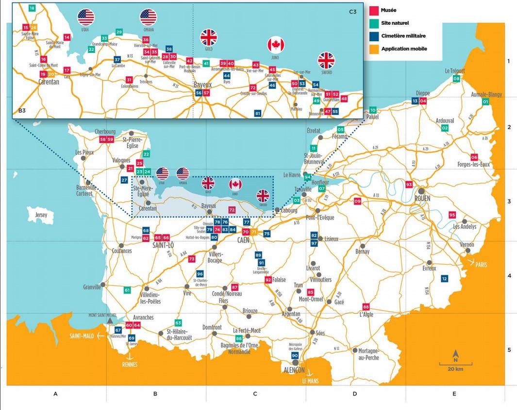 Mapa Desembarco de Normandía